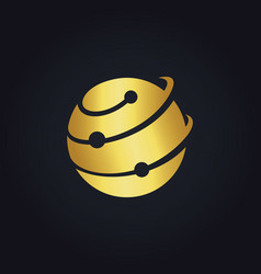 Round connect technology gold logo vector