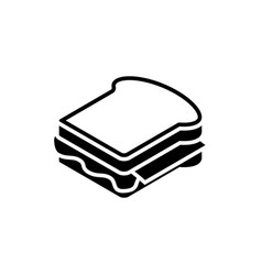 sandwich black icon on white background fastfood vector image