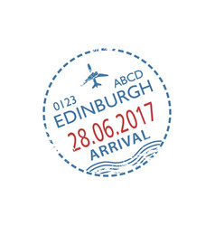 Scotland border entry visa edinburgh airport stamp vector