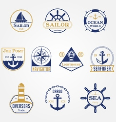 Sea Marine Badges Logos vector image