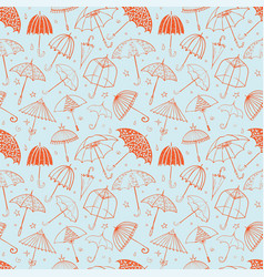 seamless pattern with red umbrellas on blue vector image