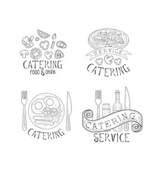 set of 4 logos for catering services vector image