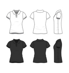 Set of female polo t-shirt vector