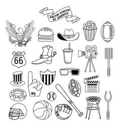 set of usa entertainment icons vector image