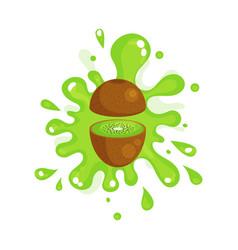 sliced kiwi juice splashing colorful fresh juicy vector image