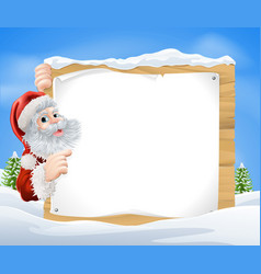 snow scene christmas santa sign vector image