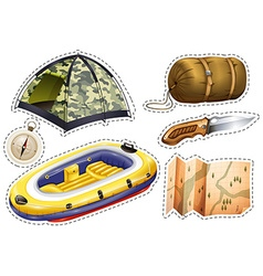 Sticker set of camping equipments vector