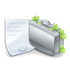 suitcase full of money vector image