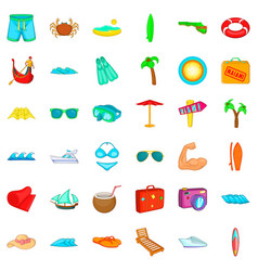 summer beach icons set cartoon style vector image