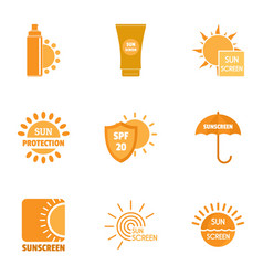 Sunscreen icons set simple style vector
