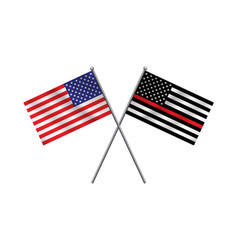 Symbolic firefighter support american flag vector