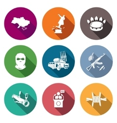 The situation in Ukraine Icons Set vector