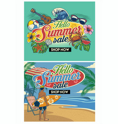 tropical summer beach flyer design set vector image