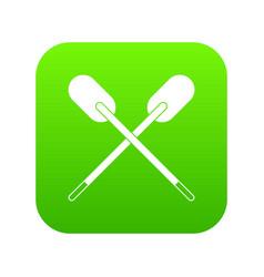 Two wooden crossed oars icon digital green vector
