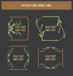 Vintage floral badge-label vector image