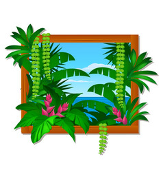 wall decor in wooden frame with tropical trees and vector image