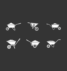 wheelbarrow icon set grey vector image