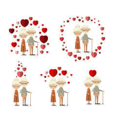 white background set full body elderly couple vector image
