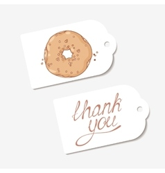 White paper tags THANK YOU hand drawn lettering vector