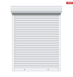 white roller shutters isolated vector image