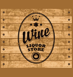 Wine label on wooden background vector