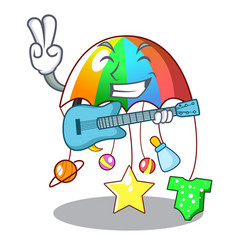 With guitar baby sleeping with cartoon hanging vector