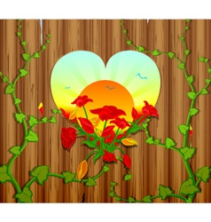Wooden fence with a carved heart and flowers vector