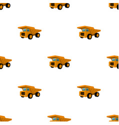 Yellow dump truck with black wheelsthe vehicle vector