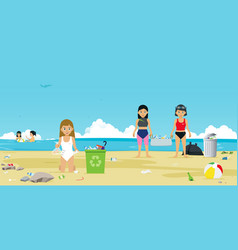 beach garbage vector image