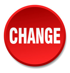 change red round flat isolated push button vector image