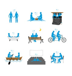 Gay set of silhouettes LGBT love blue people in vector image