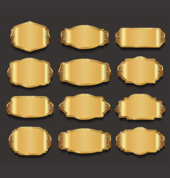 gold blank frame and label collection 2 vector image vector image
