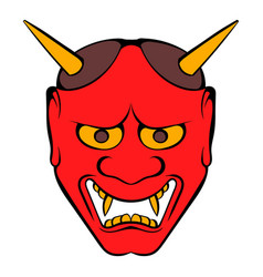 Hannya mask icon cartoon vector
