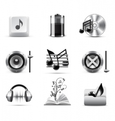 music icons | bw series vector image vector image