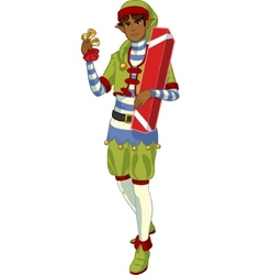 Christmas elf African American boy with gift vector image vector image