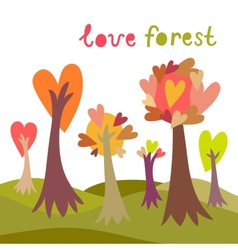 Colorful love forest background vector image