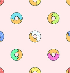 donuts various colors seamless pattern vector image