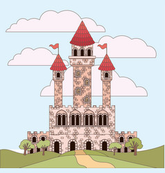 landscape with princesses castle and sky with vector image