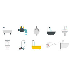 bathroom icon set flat style vector image