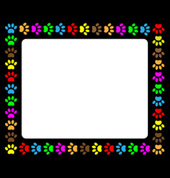 colorful animal paw prints black frame vector image vector image