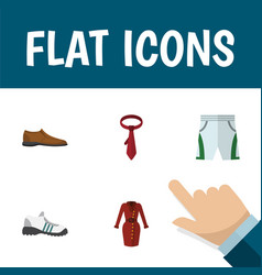 Flat icon dress set of clothes trunks cloth vector