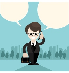 Happy businessman holding phone and talking vector image