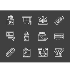 Pharmacy white simple line design icons vector image