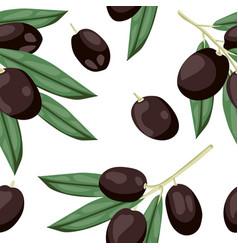 seamless olive pattern tile black olive vegetable vector image vector image
