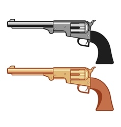 Silver and gold revolver gun isolated on vector