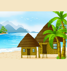 wooden huts on the beach vector image vector image