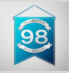blue pennant with inscription ninety eight years vector image vector image