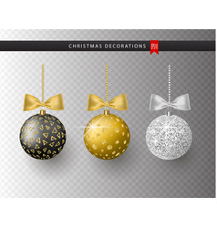 collection of realistic beautiful shiny christmas vector image
