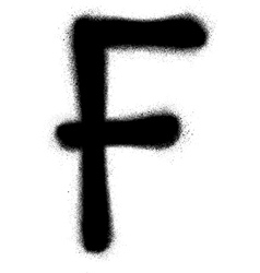 sprayed F font graffiti in black over white vector image vector image