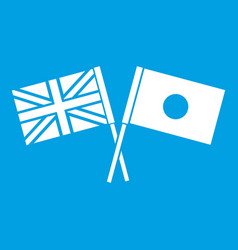 uk and japan flags crossed icon white vector image